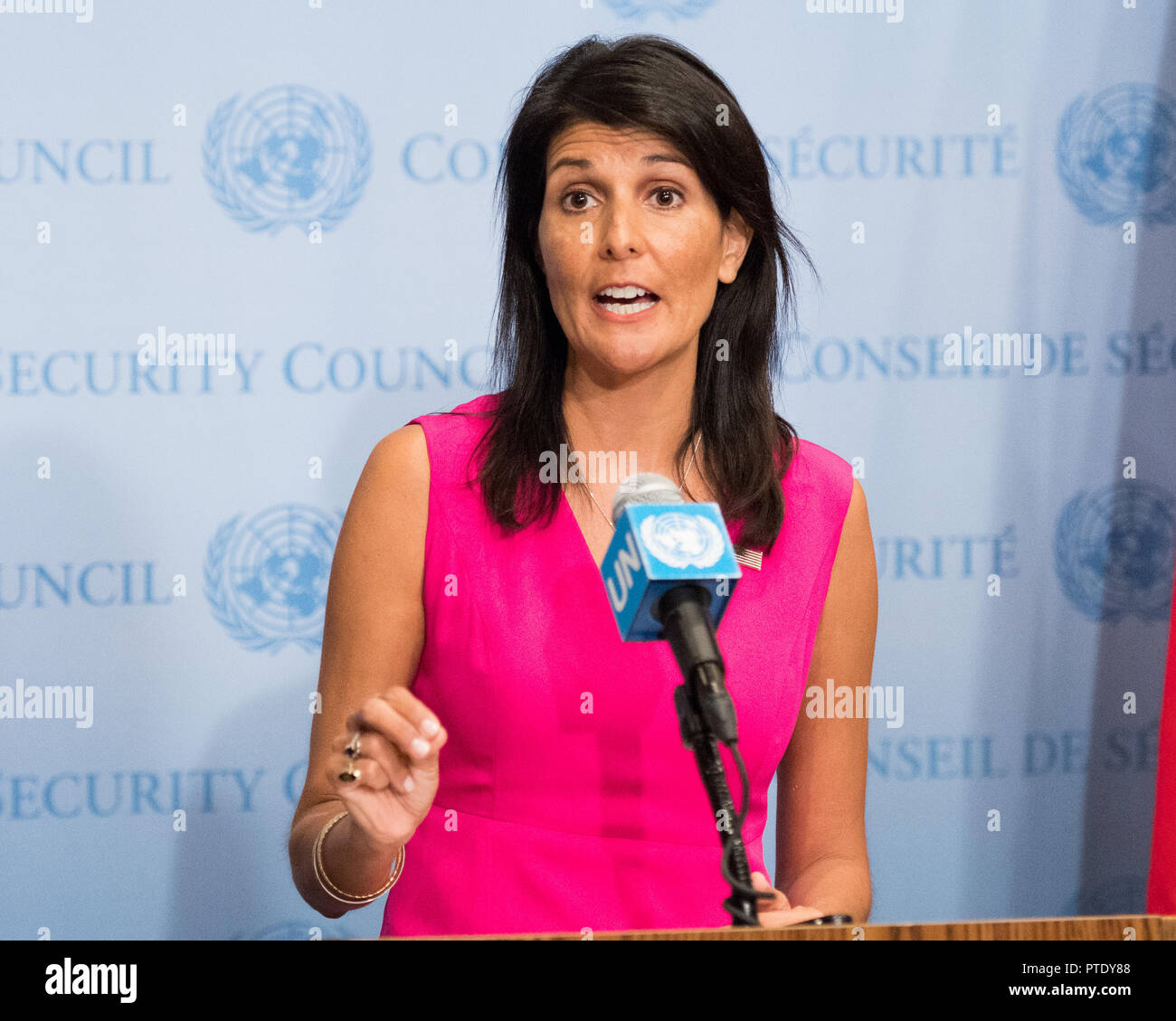 Nikki Haley pictured at a press conference at the United Nations. The UN Ambassador to the United Nation has announced her resignation on 9 October 2018. The US president Donald Trump has already accepted her resignation. - Stock Image