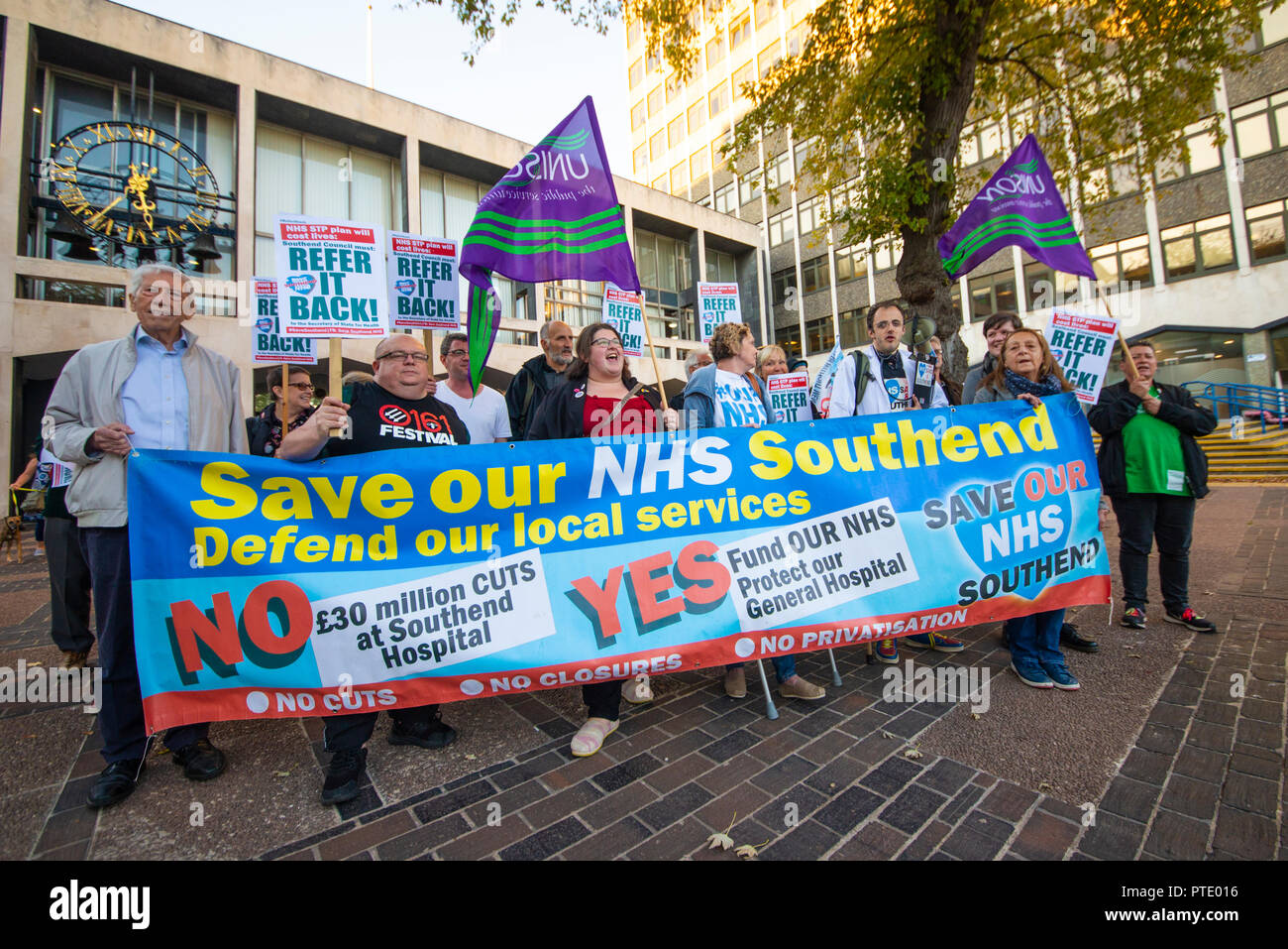 A protest is taking place outside Southend Council Civic Centre offices prior to a People Scrutiny Committee meeting deciding on whether the Council will accept or reject the Mid and South Essex STP (Sustainability & Transformation Partnership), referring it back to the Secretary of State for Health. In particular there are fears that Southend hospital will be downgraded. Refer it Back slogan. Result was to refer it back - Stock Image