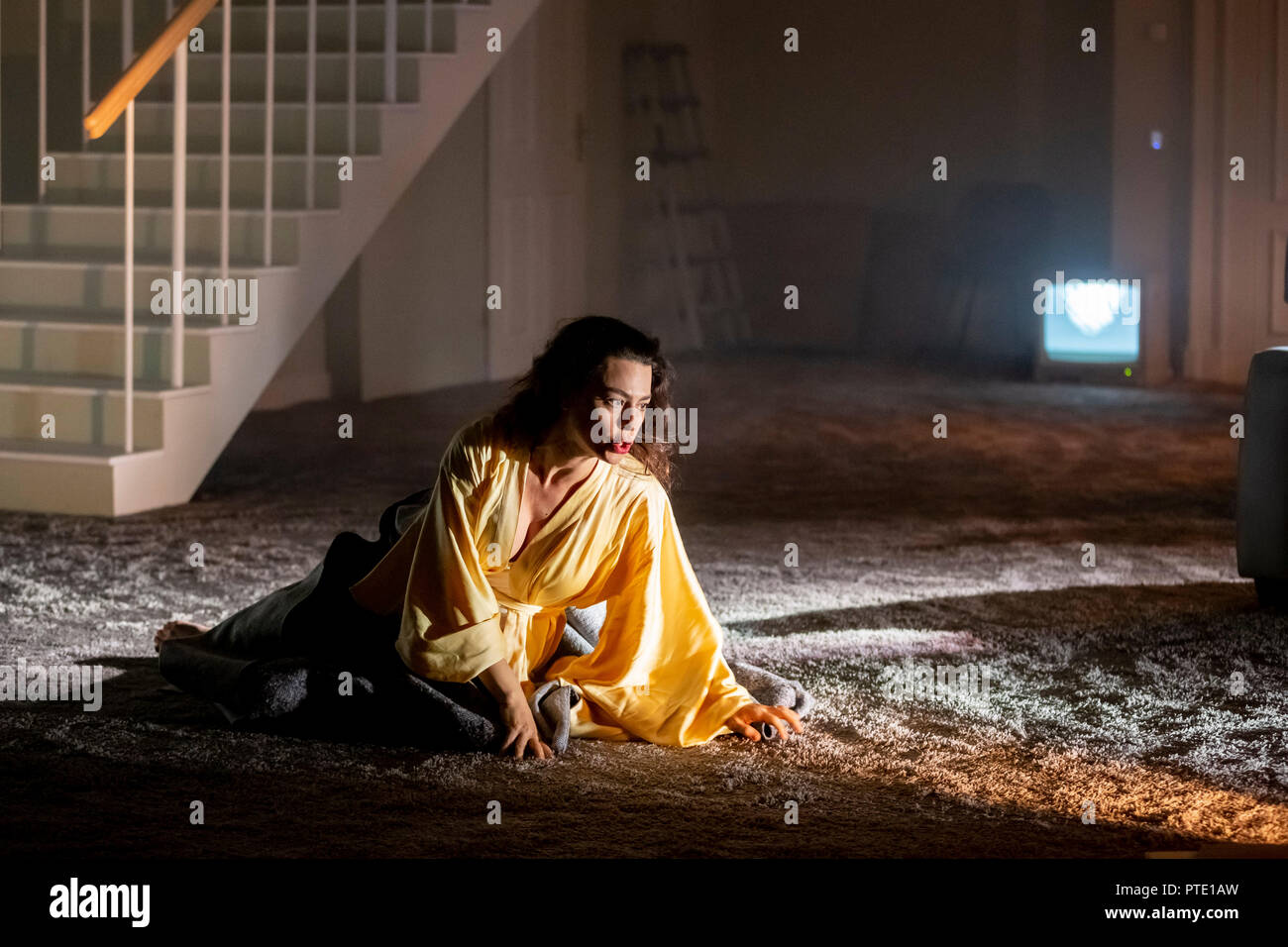 09 October 2018, Berlin: Ruth Rosenfeld appears in the role of Lady Madeline in the photo rehearsal for the premiere of 'Usher' by Claude Debussy and Annelies Van Parys in the production of Philippe Quesne at the Staatsoper Unter den Linden. Photo: Christoph Soeder/dpa - Stock Image