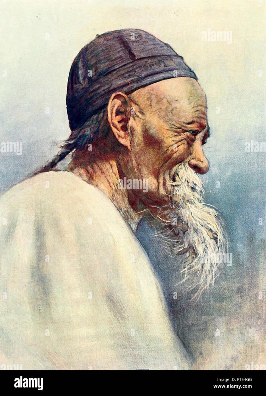 A Grandfather in China, circa 1909 - Stock Image