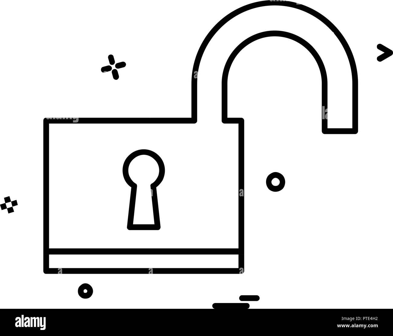 Lock icon design vector - Stock Image