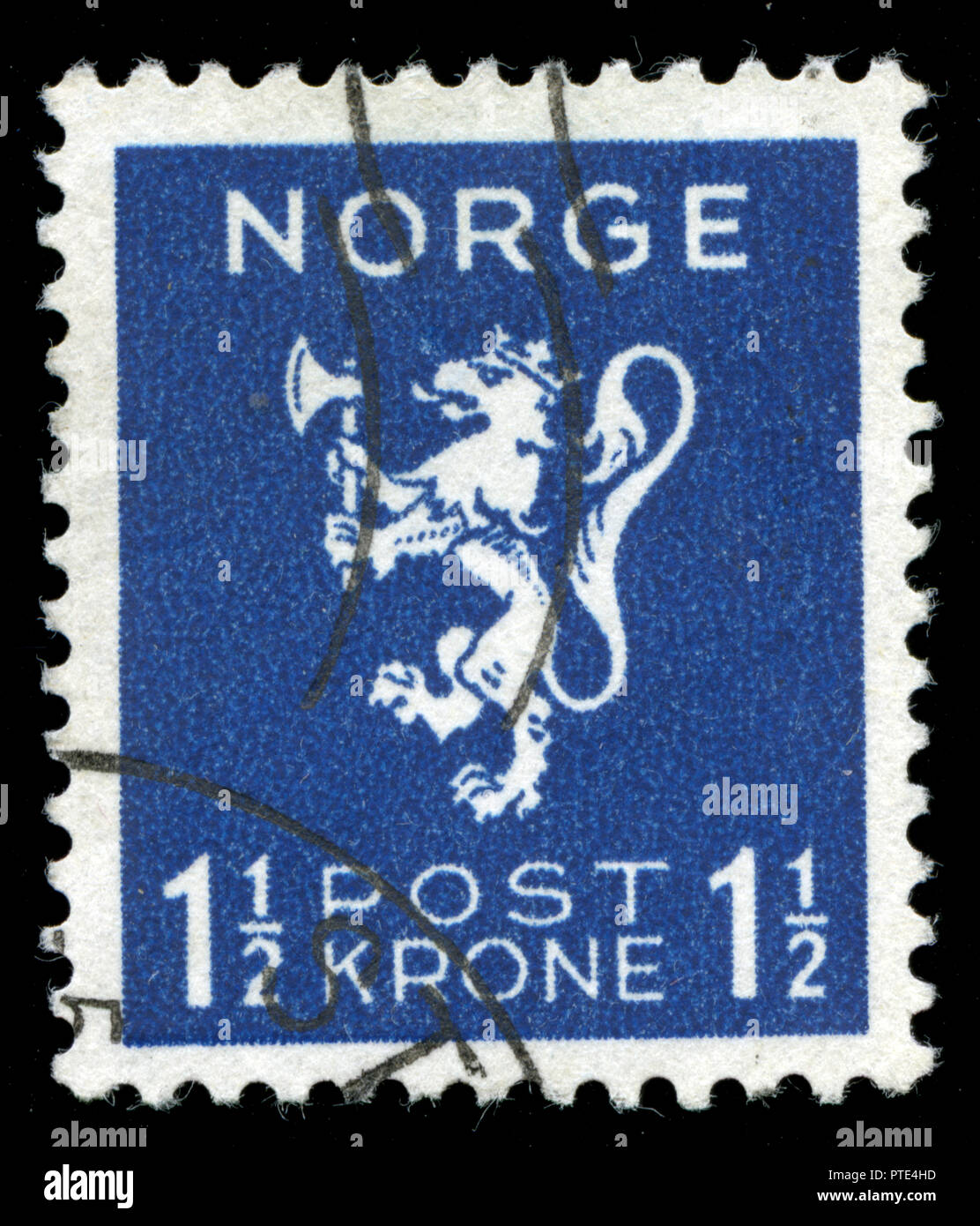Postmarked stamp from Norway in the Lion type, Crown values series issued in 1940 - Stock Image
