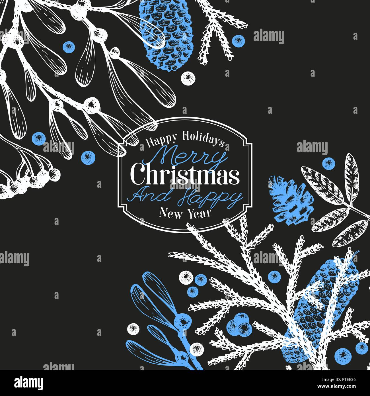 Greeting Christmas card in vintage style. Vector hand drawn illustrations on chalk board. Banner template with coniferous, pine branches, berries, holly, mistletoe. Winter forest background. - Stock Vector