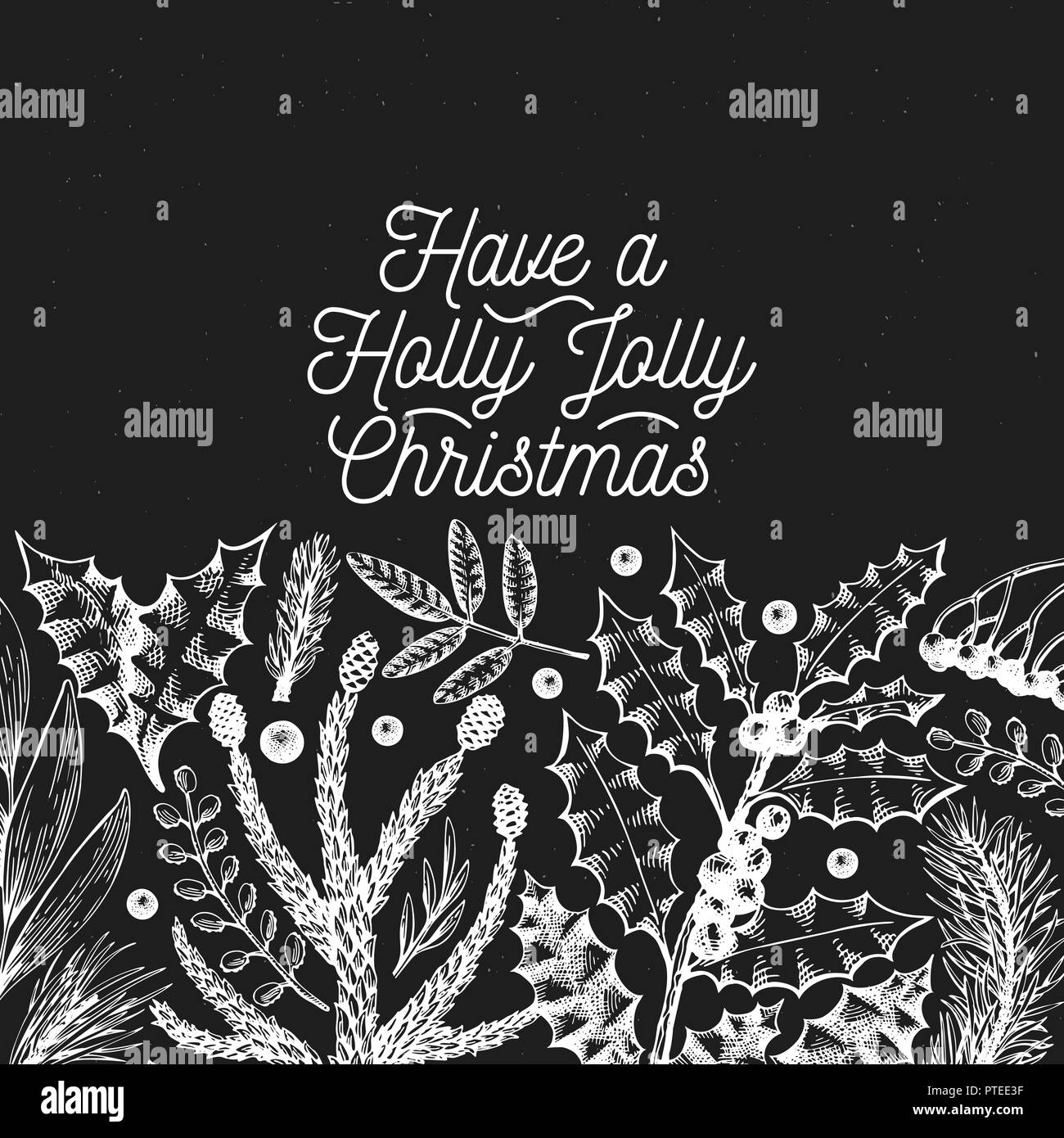 Greeting Christmas card in retro style. Vector hand drawn illustrations on chalk board. Banner template with coniferous, pine branches, berries, holly - Stock Vector