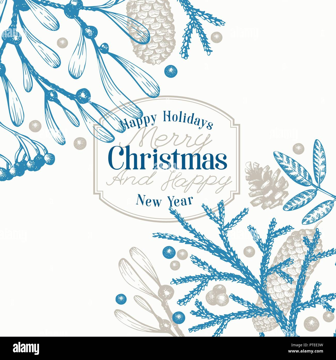 Greeting Christmas card in vintage style. Vector hand drawn illustrations. Banner with coniferous, pine branches, berries, holly, mistletoe. Winter forest background. Merry Christmas template. - Stock Vector