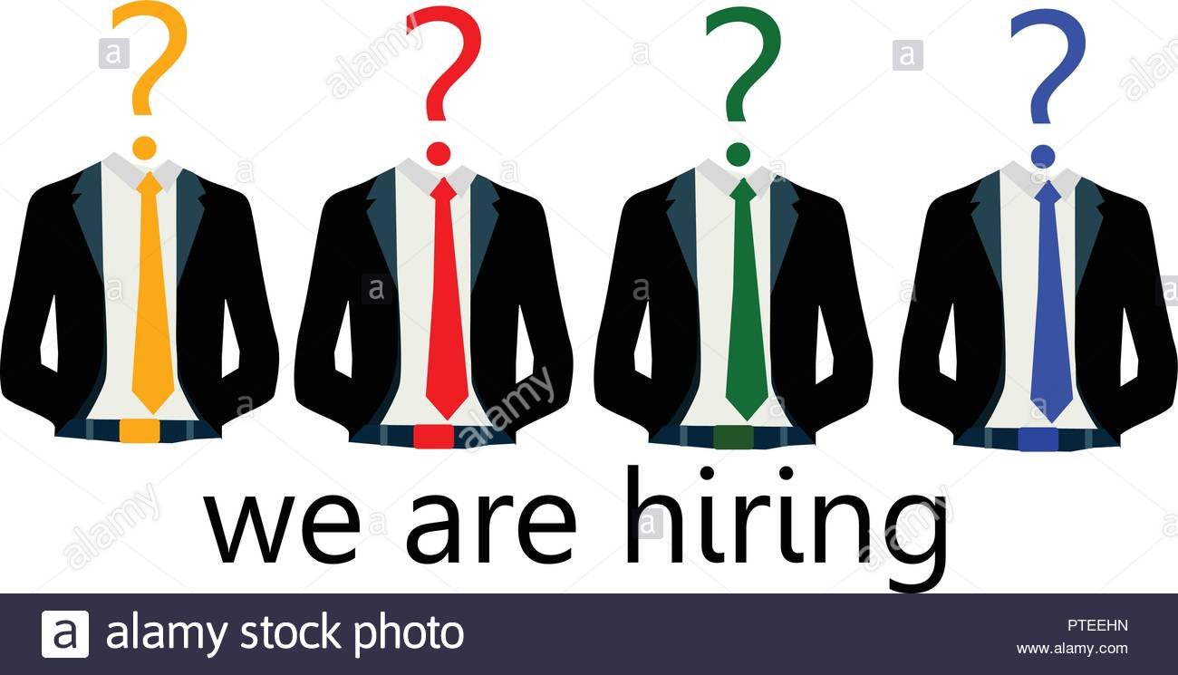 we are hiring with suites with text under - Stock Vector