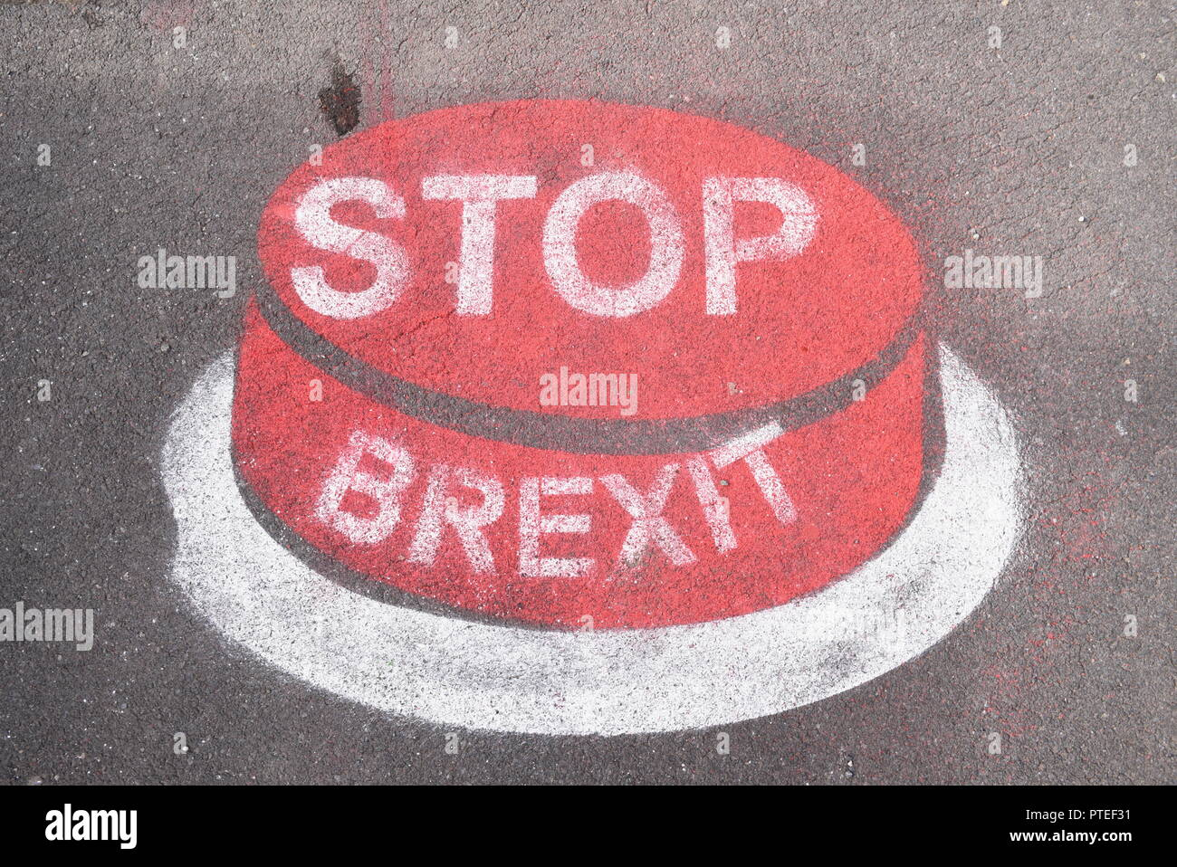 A Stop Brexit message sprayed on a pavement near the Labout Party Conference 2018 in Liverpool, England, UK Stock Photo