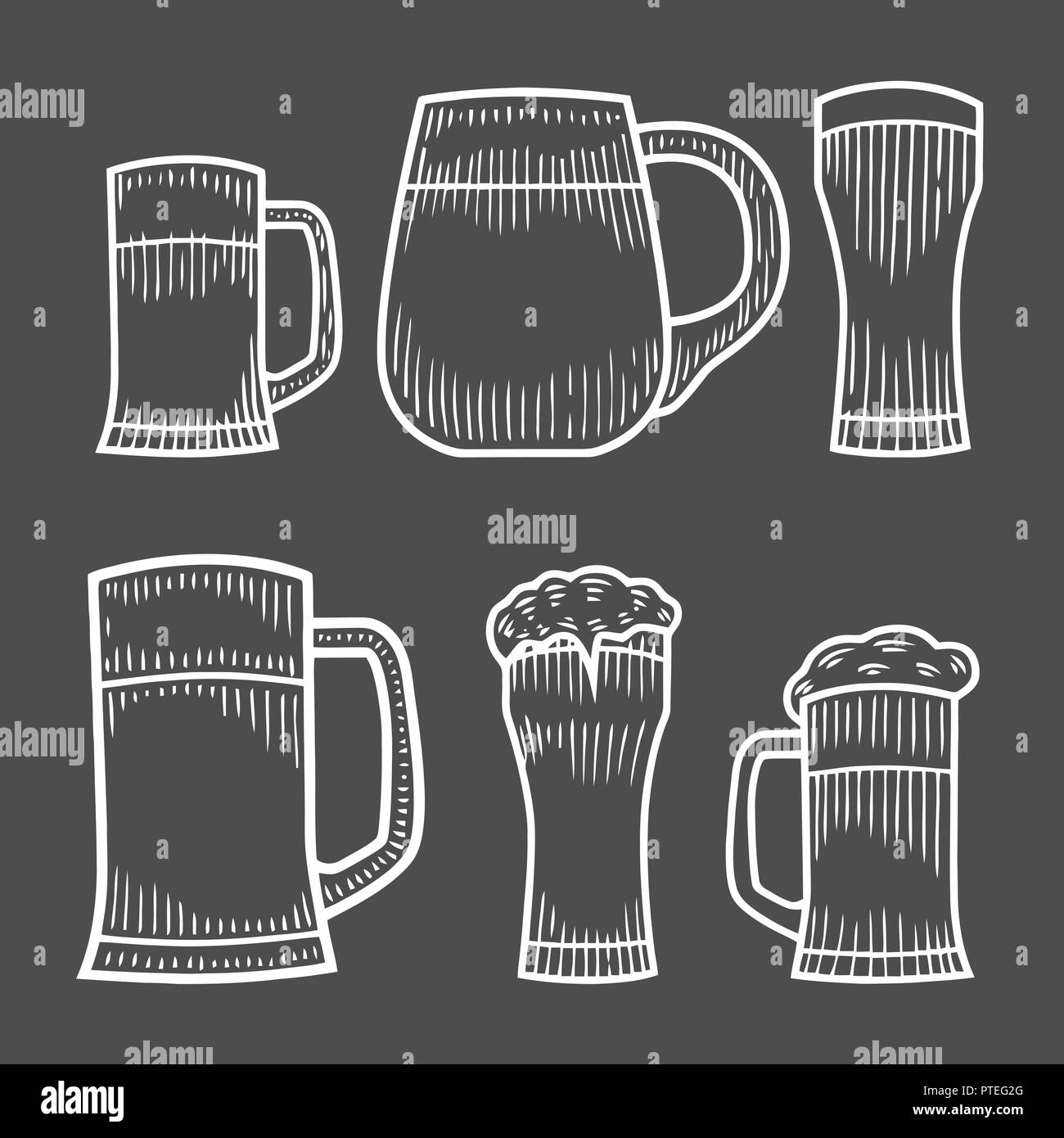 Beer glass, wooden mug. Sketch style vector illustration. Hand drawn isolated beverage object on white background. Alcoholic drink drawing. Great for  Stock Vector