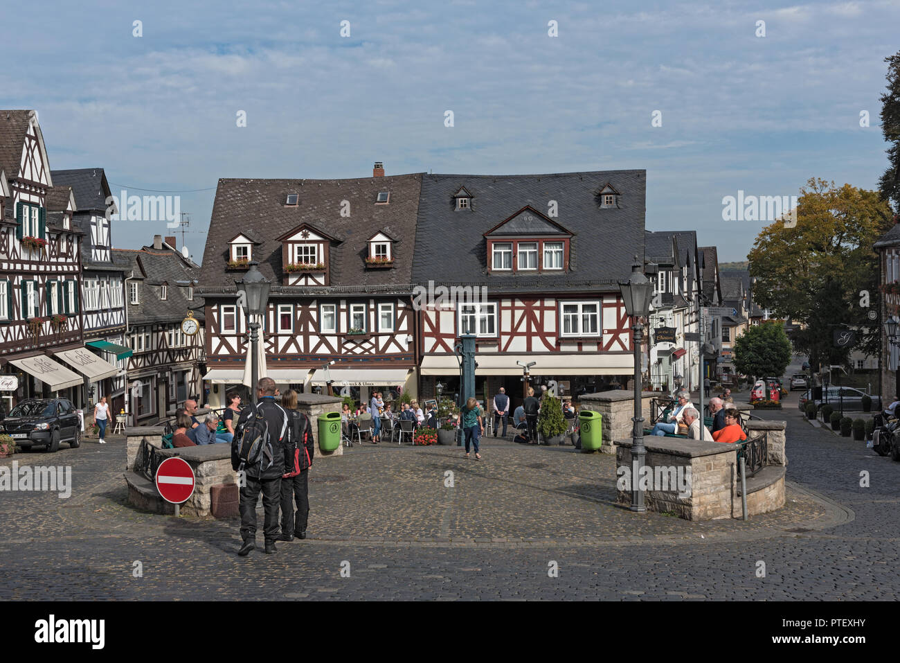 Historic half-timbered houses at the market square in the old town Braunfels, Hessen, Germany. - Stock Image