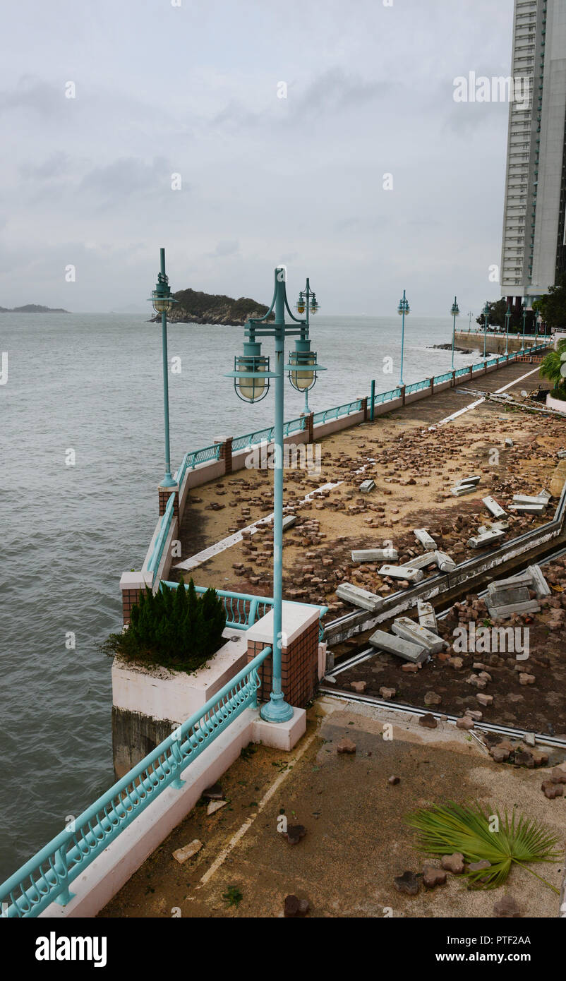 Damage from Typhoon Mangkhut in Hong Kong. - Stock Image