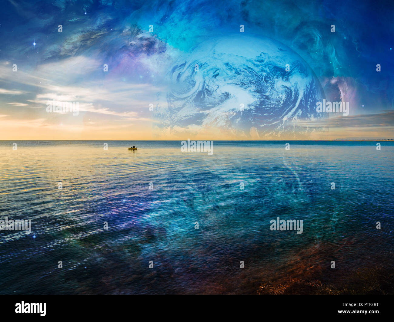 Fantasy landscape - lonely fishing boat floating on tranquil ocean water with planet and galaxy in the skies. Elements of this image are furnished by  Stock Photo