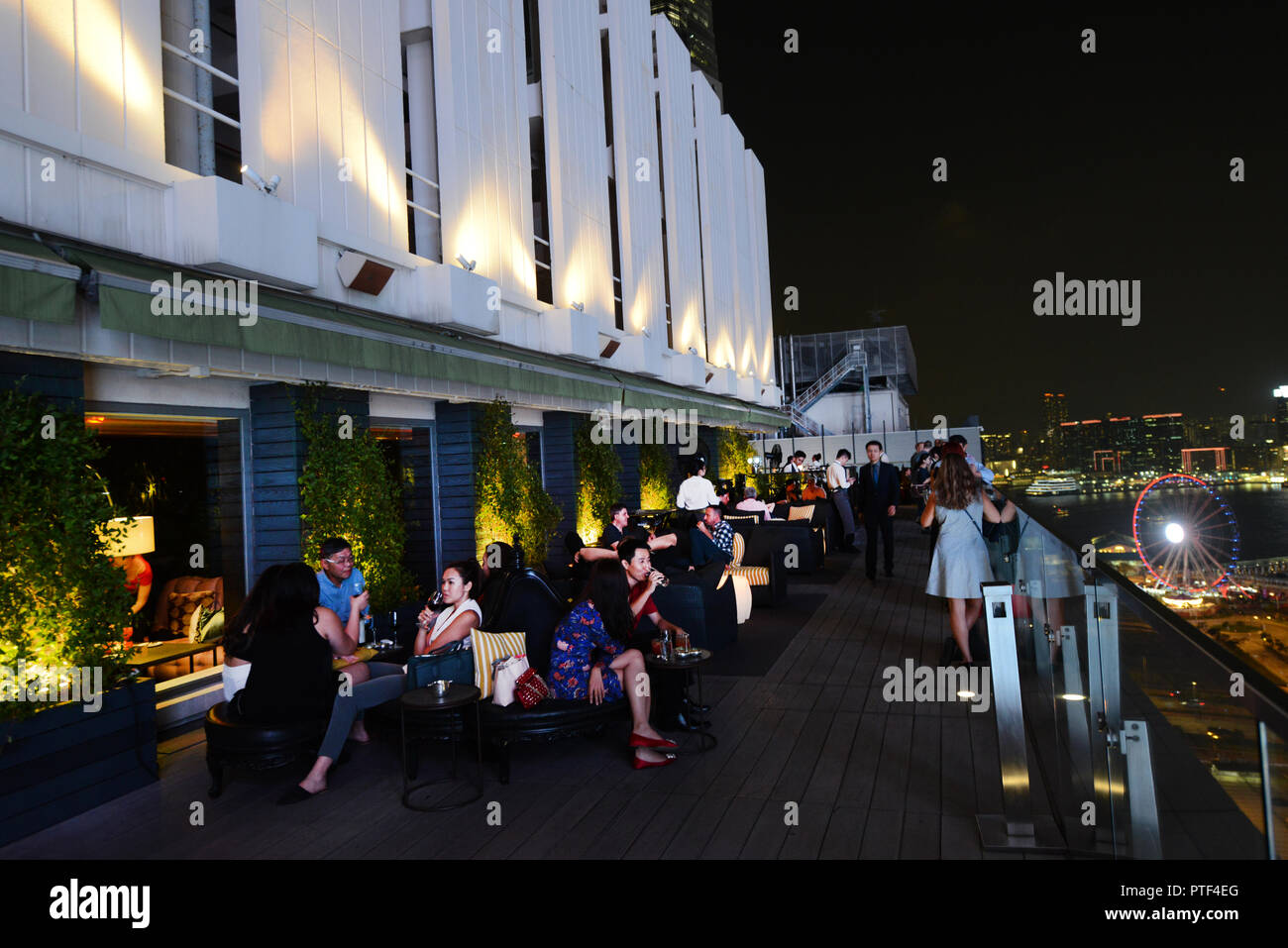 Sevva rooftop bar in Hong Kong. - Stock Image