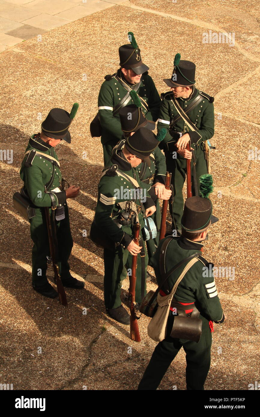 Filming overhead  POV- Rifleman Diaries- Riflemen in unit formation at a re-enactment. - Stock Image