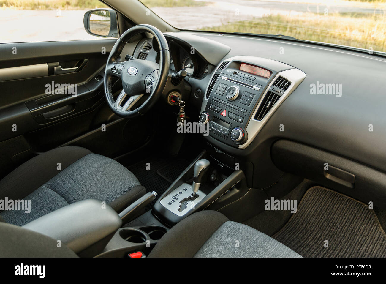 DNIPRO, UKRAINE - SEPTEMBER 05, 2017: KIA CEED, INTERIOR, DRIVER ...