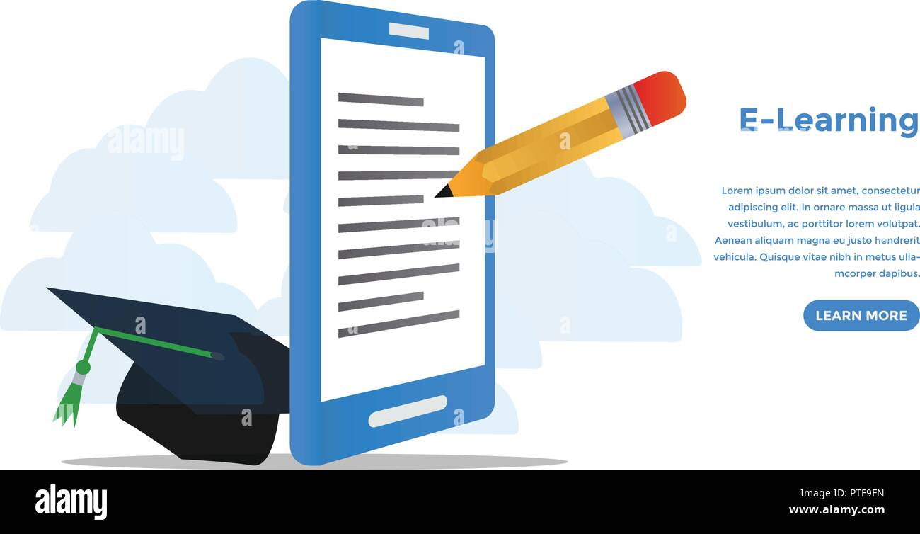 E Learning Concept Ready To Use Vector Illustration Suitable For Background Wallpaper Landing Page Web Banner Card And Other Creative Work Stock Vector Image Art Alamy