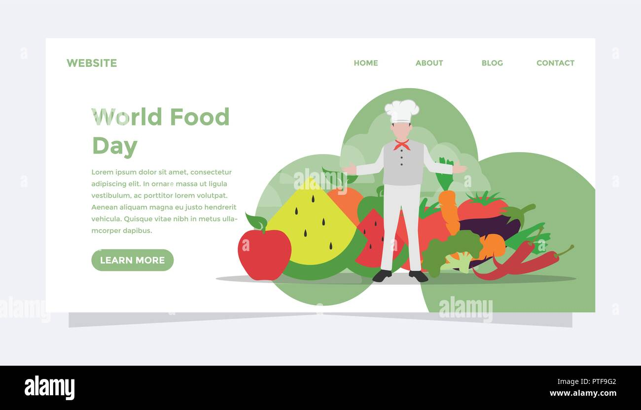 World food day concept. Ready to use vector illustration. Suitable for background, wallpaper, landing page, web, banner, card and other creative work. - Stock Image