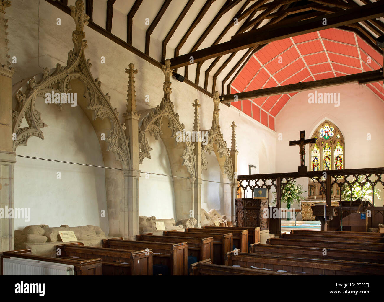 England, Berkshire, Aldworth, St Mary's church, Aldworth Giants, de la Beche family effigies beside pews in nave Stock Photo