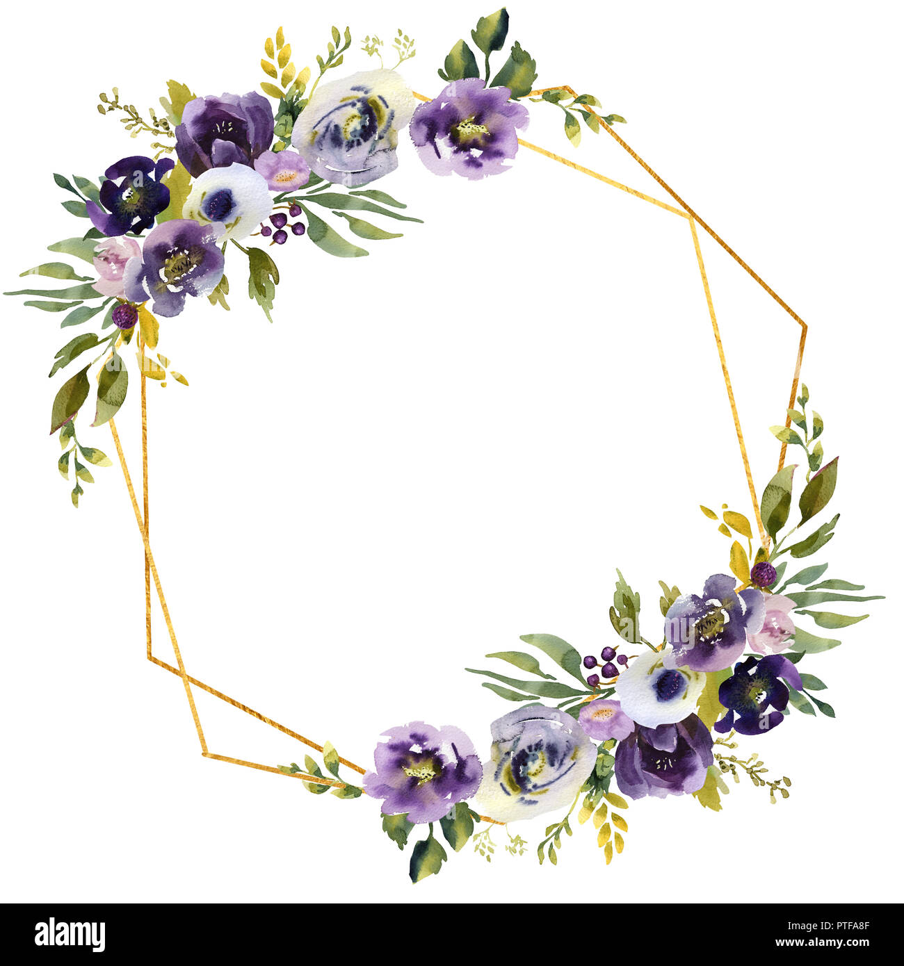 Hand drawing watercolor Wedding frame wreath green and