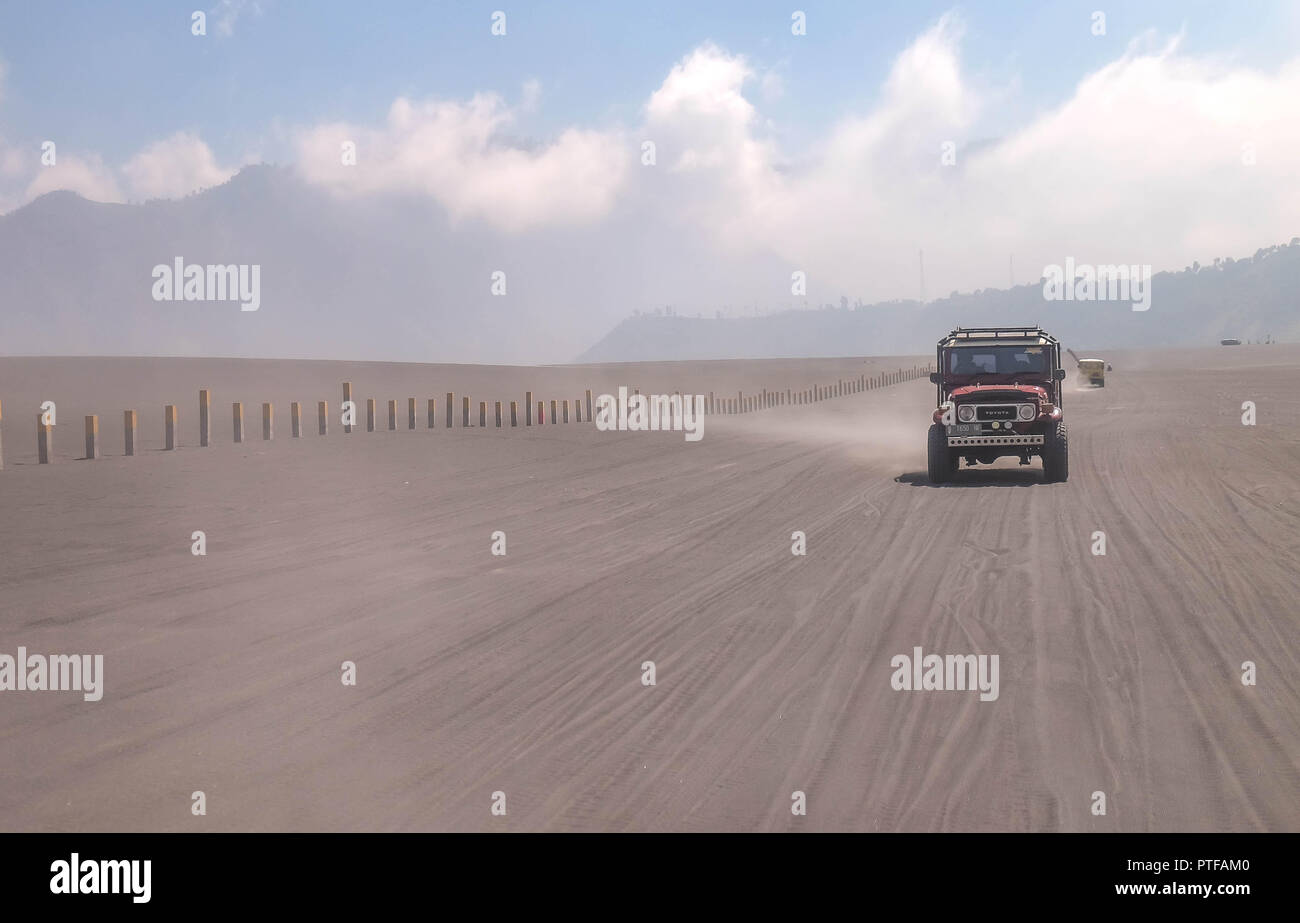 Bromo mountain indonesia july 17 2018 the jeep car is driving at