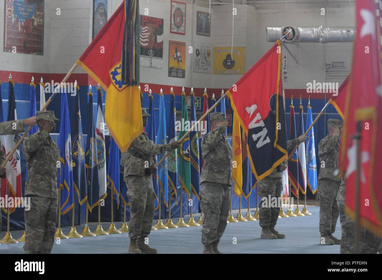 CAMP ARIFJAN, Kuwait – Col Mark Beckler, commander of the 29th Combat Aviation Brigade, and Spc. Kamau Miller, guidon bearer render a salute during the playing of the National Anthem during the Transfer of Authority ceremony at Camp Arifjan, Kuwait, July 13, 2017. The TOA signaled the outgoing 29th Infantry Division out of Maryland and Virginia and welcomed in the 35th Infantry Division out of Fort Leavenworth, Kansas. - Stock Image
