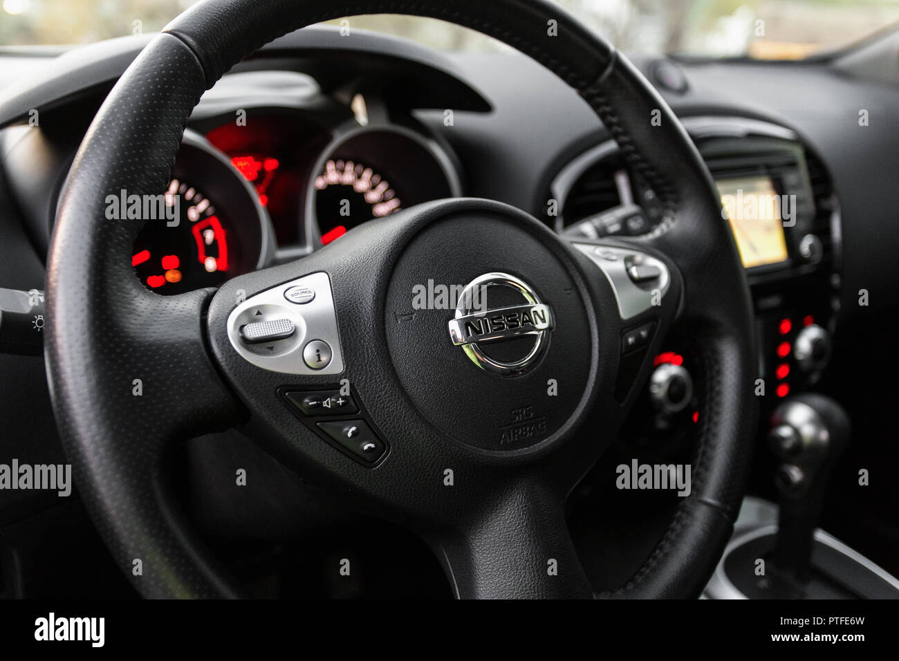 Safety Red Lever Stock Photos Images Alamy Nissan Juke Fuse Box Location Dnipro Ukraine April 12 2016 Interior Wheel Close