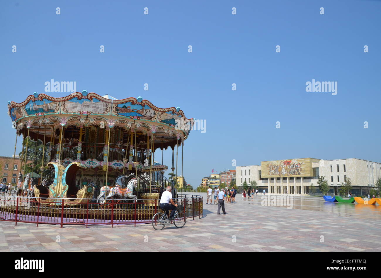 the old carousel in skanderbeg square tirana albania - Stock Image