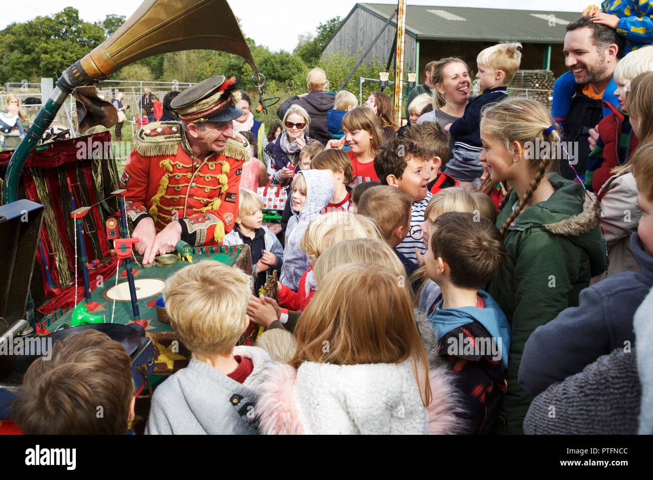 Flea circus and childrens entertainer, at Forty Hall Farm, north London. - Stock Image
