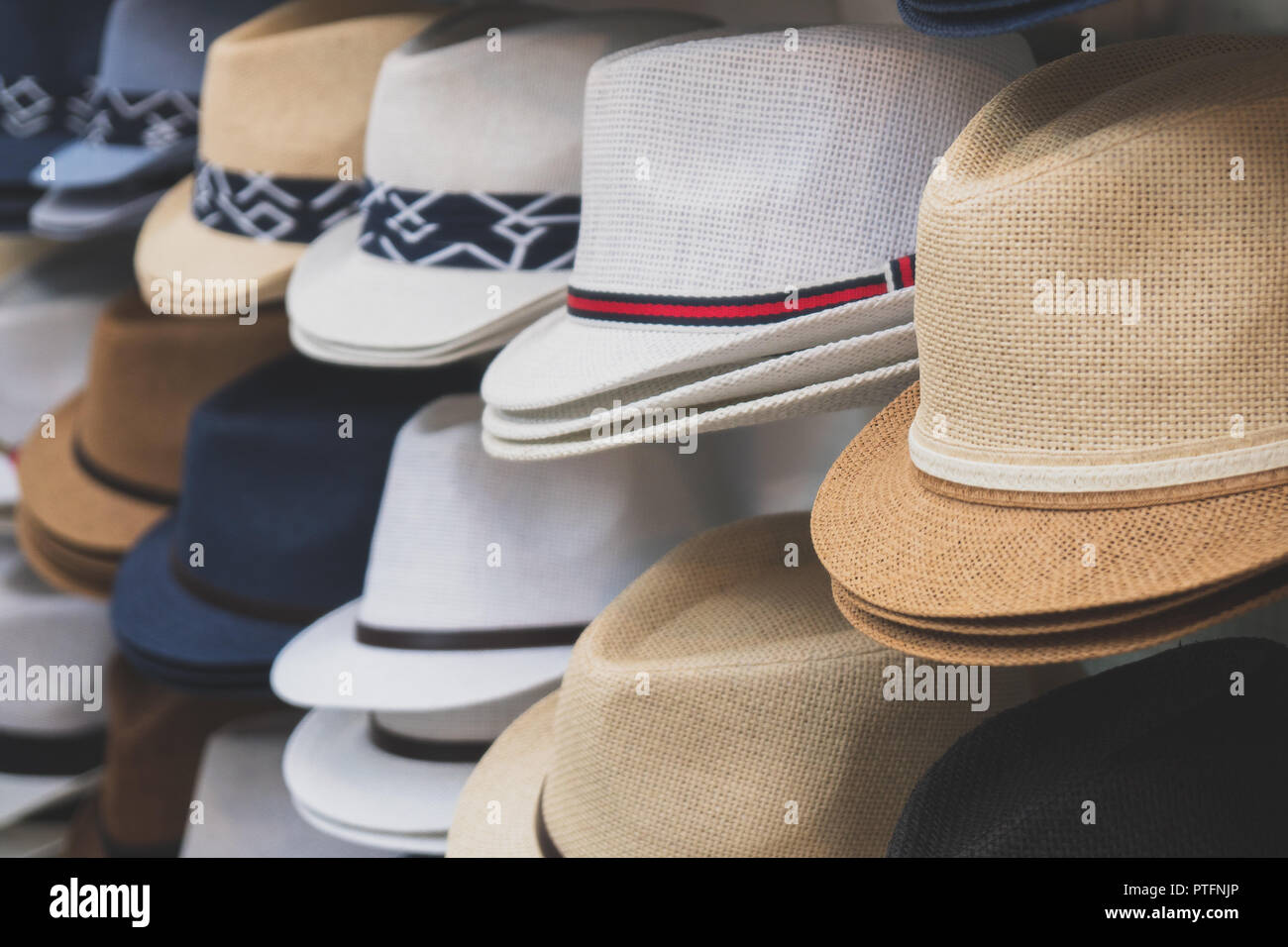 04158cec993ef2 Variety of hats for sale in the market Stock Photo: 221622430 - Alamy