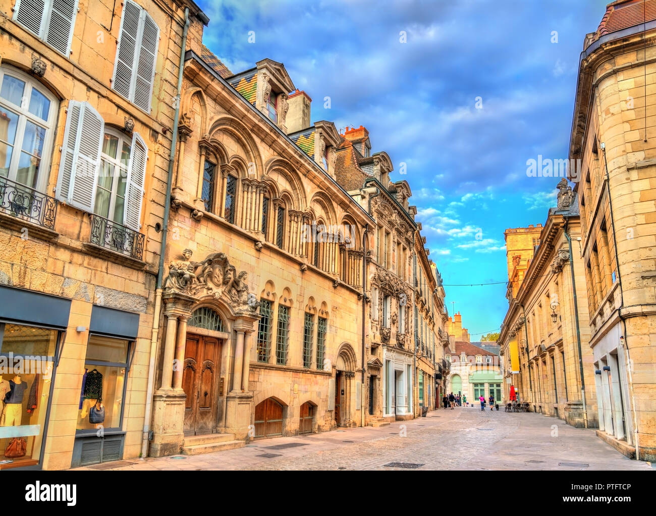 Traditional buildings in the Old Town of Dijon, France Stock Photo