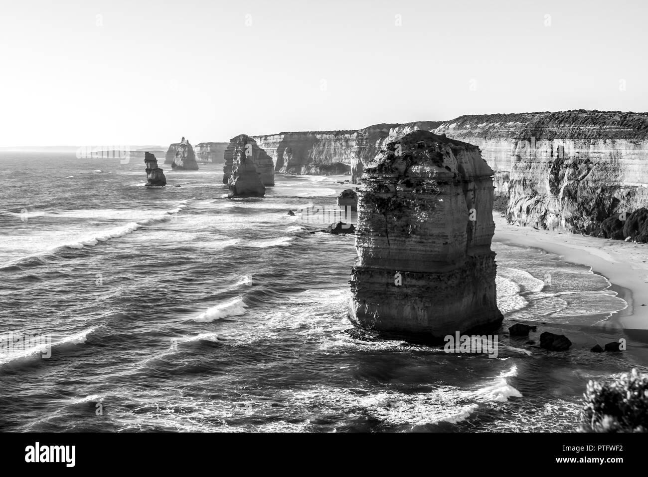 Twelve Apostles Sea Rocks near Great Ocean Road , Port Campbell National Park, Australia. Black and white image - Stock Image