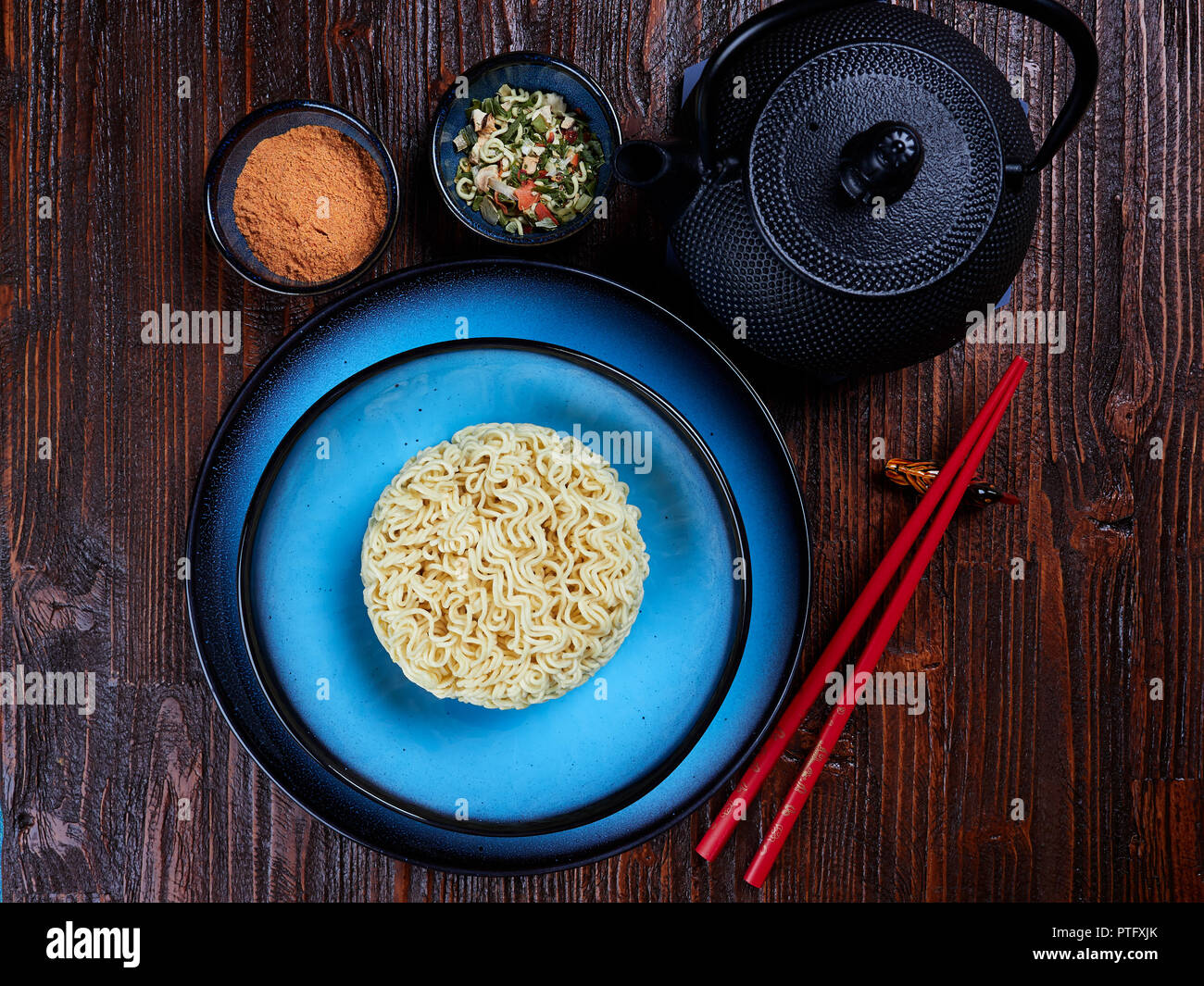 Ingredients for Shin Ramyun, a popular Korean noodle dish with an intense spicy flavour - Stock Image