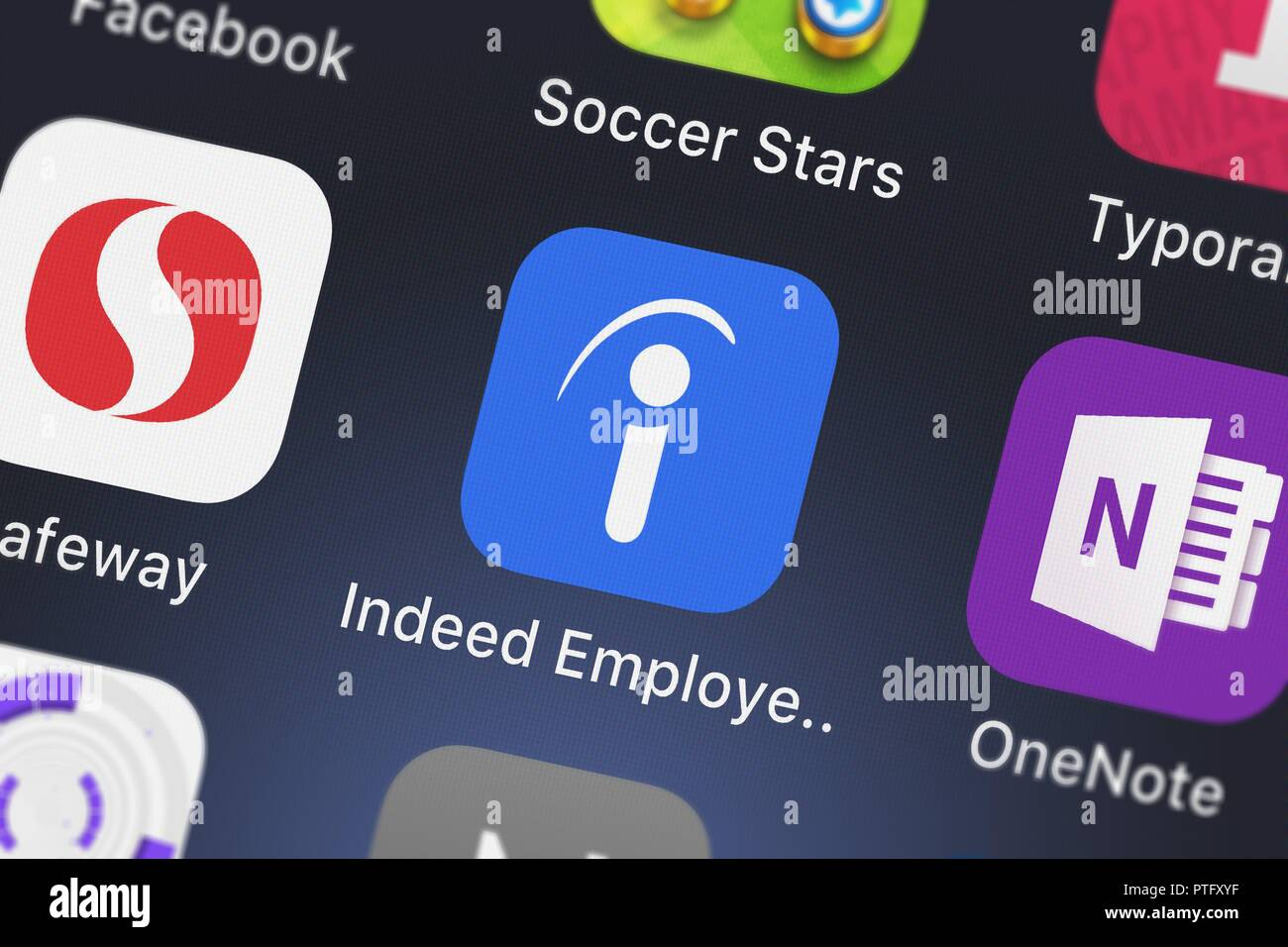 London, United Kingdom - October 09, 2018: Close-up shot of the Indeed Employer mobile app from Indeed Inc.. - Stock Image