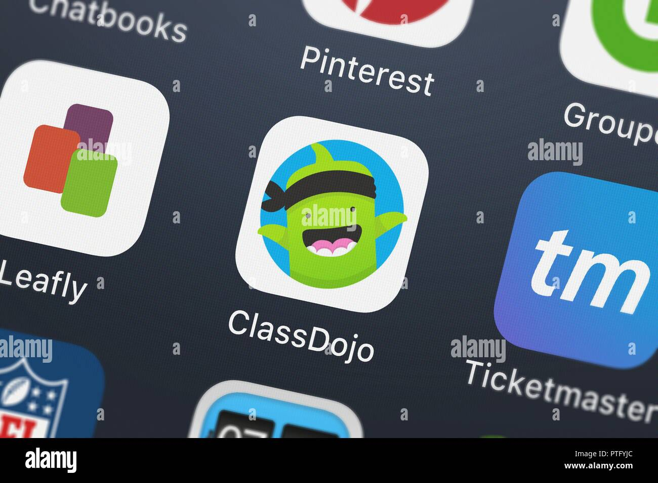 a2a1571e3c0 London, United Kingdom - October 09, 2018: Close-up of the ClassDojo icon  from Class Twist Inc. on an iPhone.