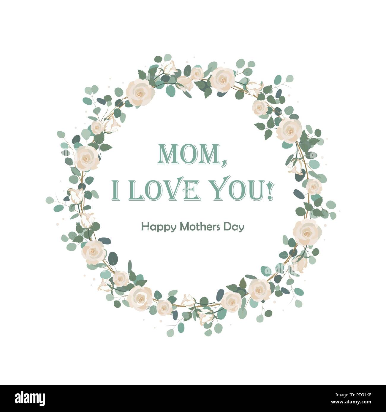 Happy Mother's Day beautiful card with floral Eucalyptus wreath. Background for Mother's day celebration. Greeting, wedding invite template. Round fra - Stock Image