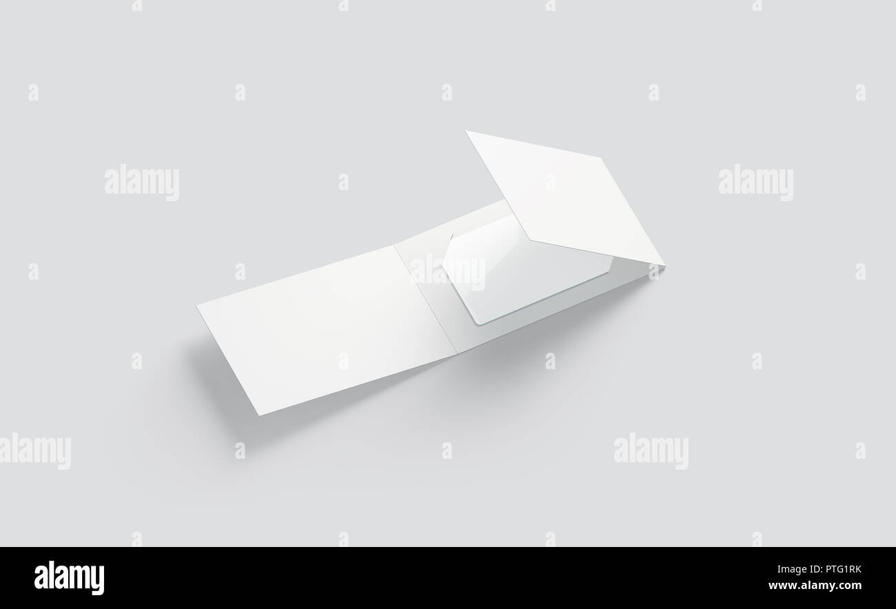 Blank White Plastic Card Mock Up Inside Opened Paper Booklet Holder 3d Rendering Empty Ajar Brochure With Gift Card Mockup Side View Clear Loyalty Stock Photo Alamy