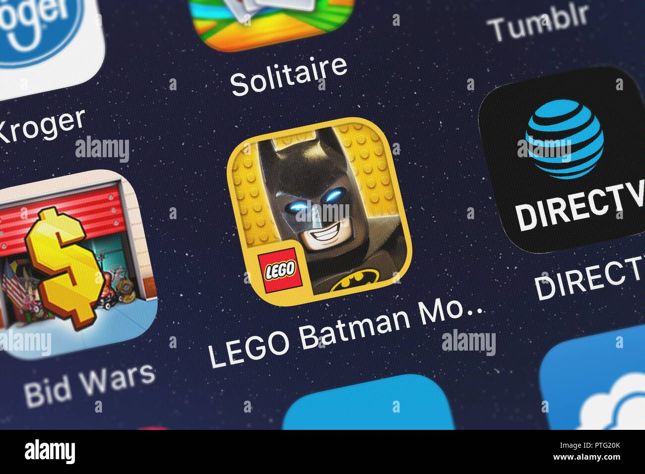London United Kingdom October 09 2018 Close Up Shot Of Warner Bros S Popular App The Lego Batman Movie Game Stock Photo Alamy
