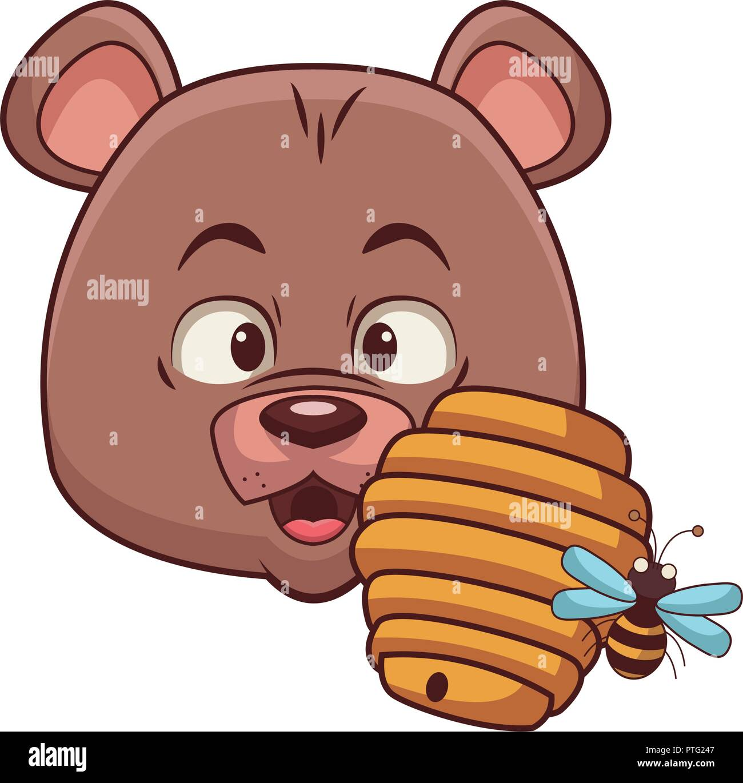Cute bear and honeycomb bee - Stock Image