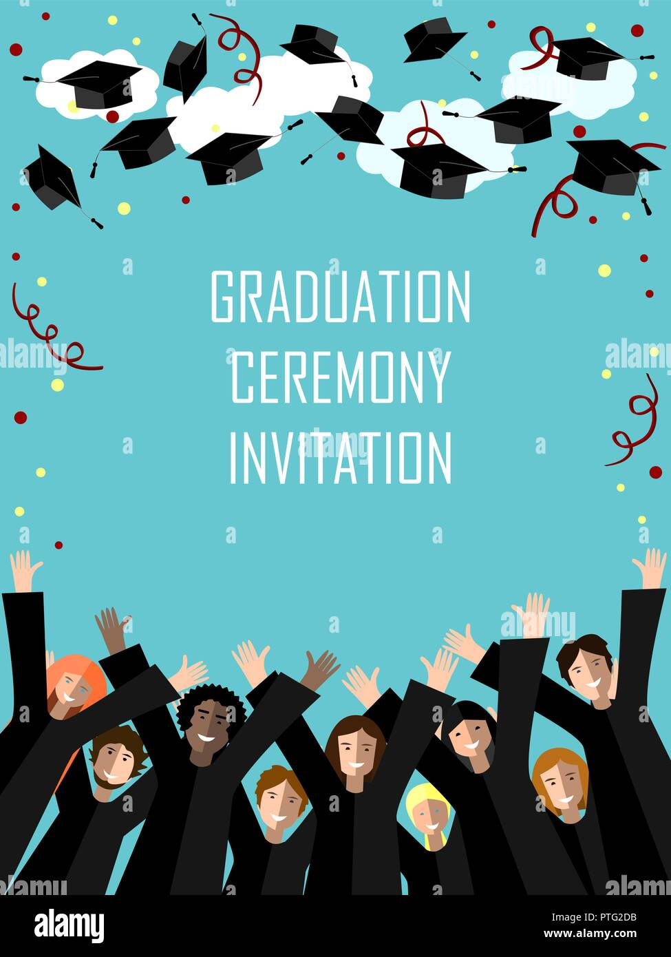 Graduation poster with happy graduates throwing graduation hats in the sky. Vector illustration - Stock Image