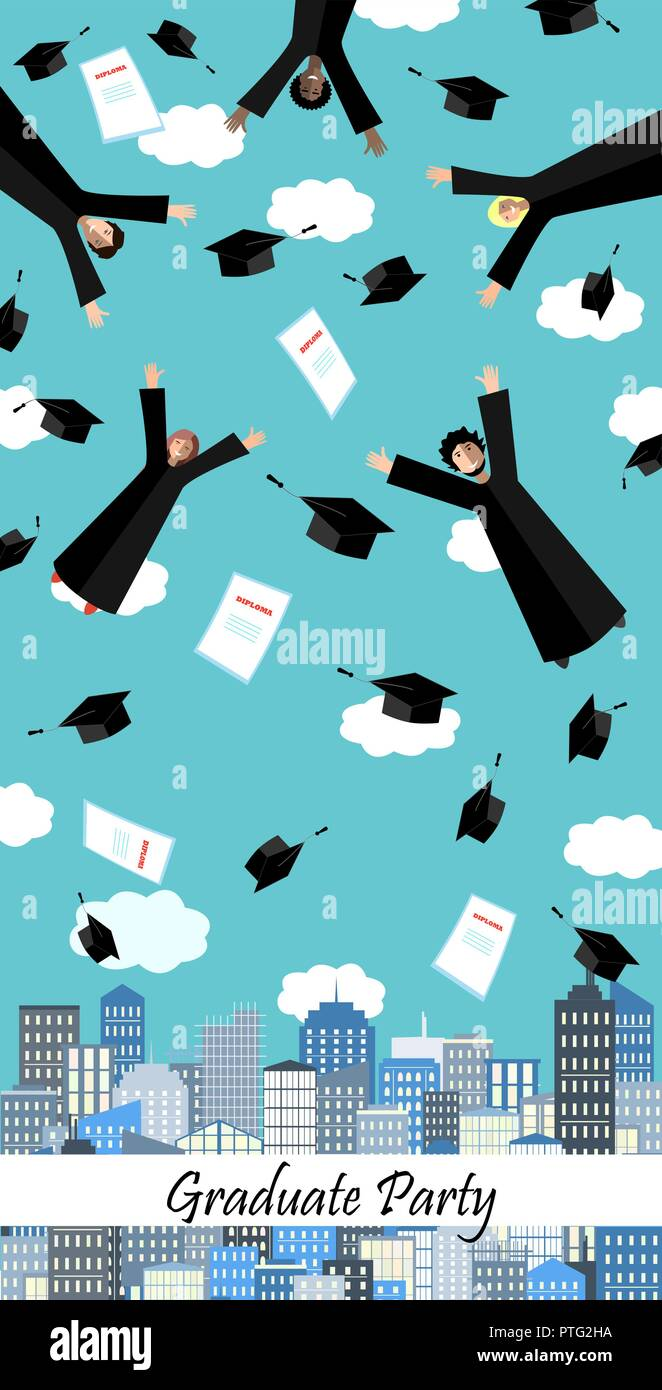 Happy Graduates flying in the air with graduation hats. Graduation ceremony banner or frame. Jumping Students and Graduation Caps above the city. Vect - Stock Image