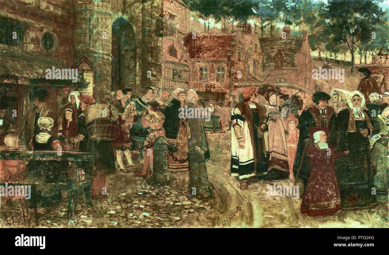 Boom  Charles - Middeleeuwse Personages Voor Een Stadspoort - Stock Image