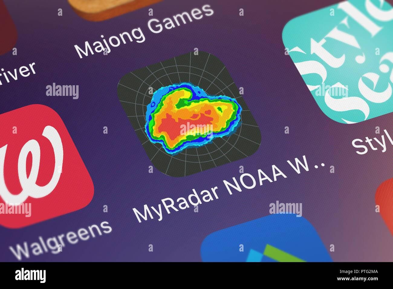 London, United Kingdom - October 09, 2018: The MyRadar NOAA