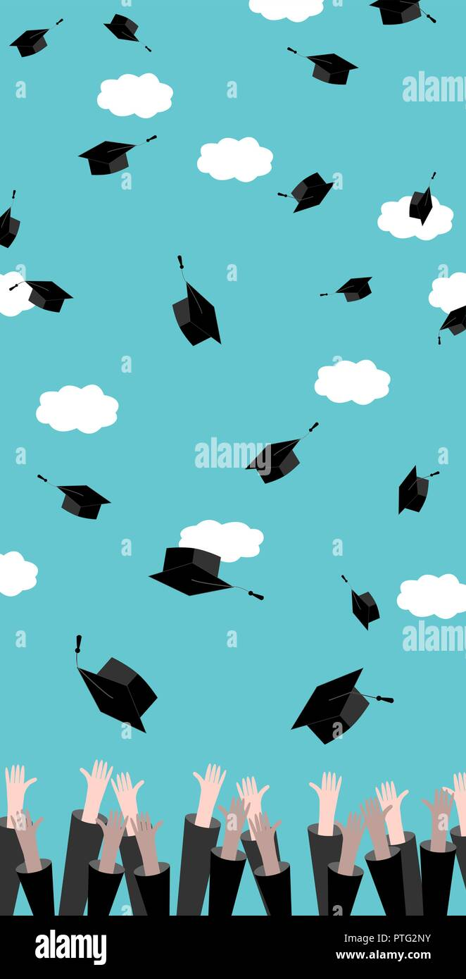 concept of education vertical banner graduates hands throwing