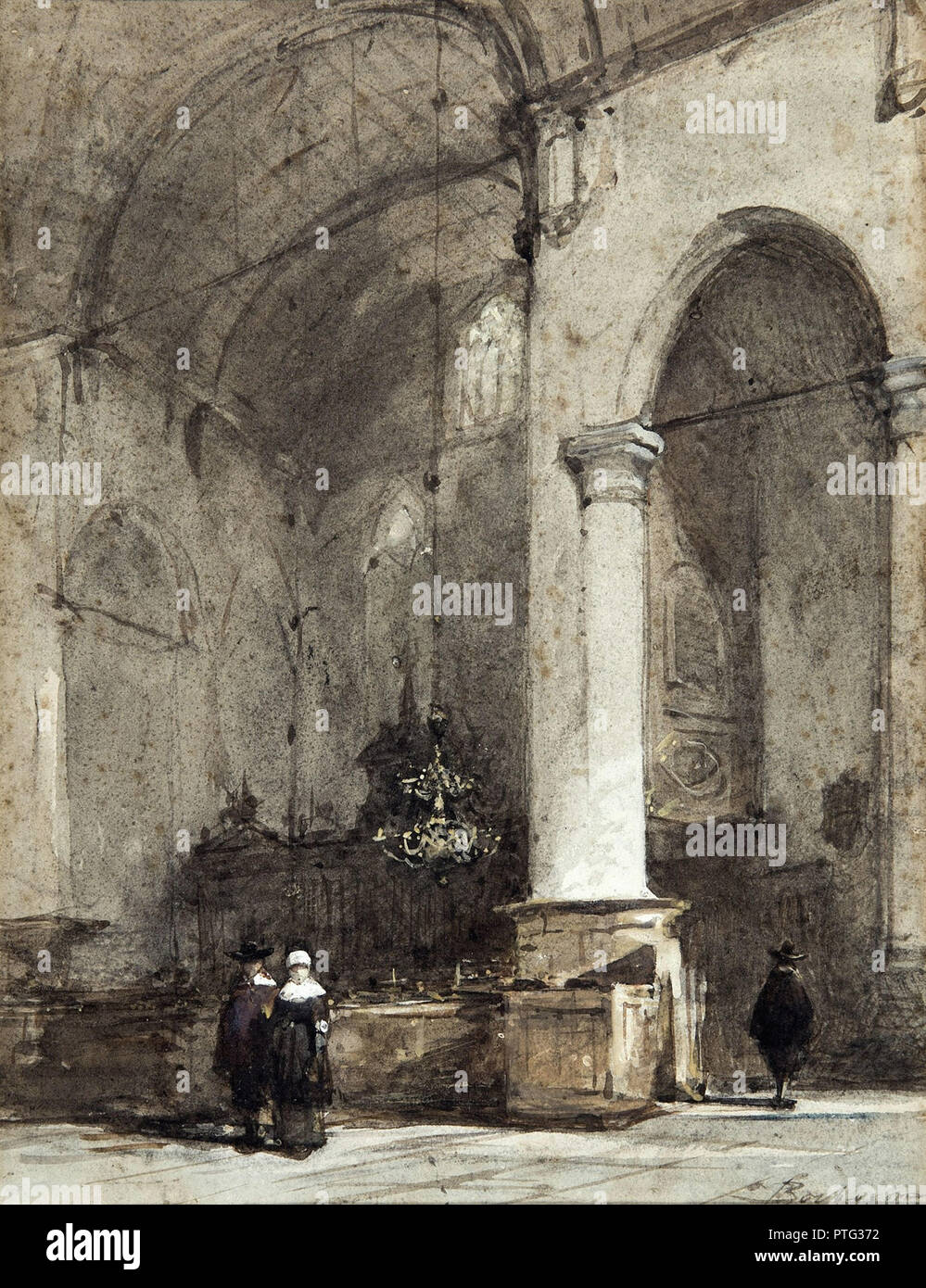 Bosboom  Johannes - Kerkinterieur Met Drie Personages - Stock Image