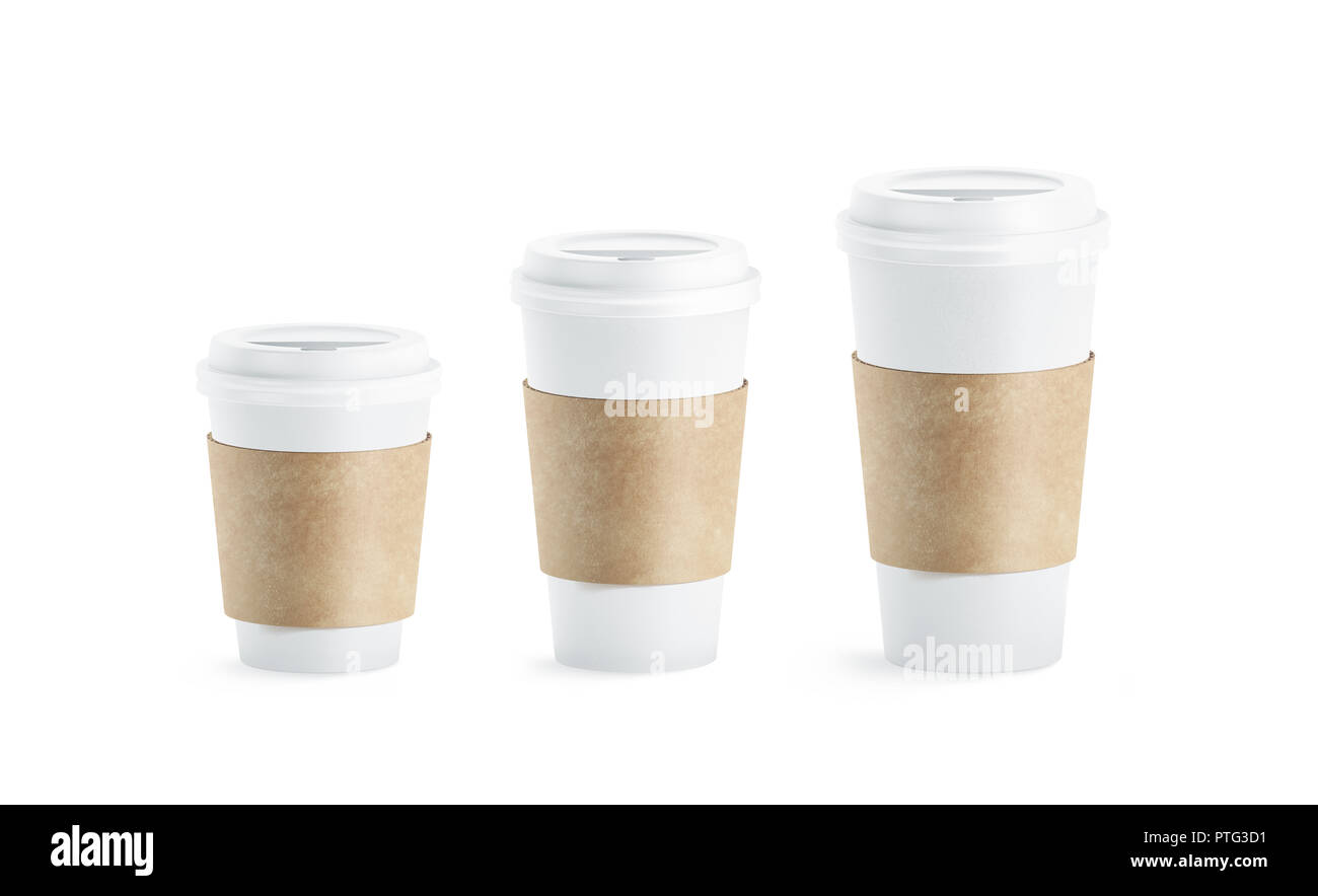 f4ee8e4ec3f Blank white paper cup with craft sleeve holder mockup set, isolated, 3d  rendering. Empty disposable container with clutches for coffee or tea mock  up.