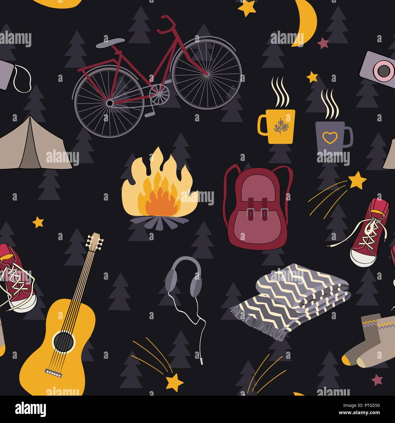Camping seamless pattern with tourism symbols: backpack, campfire, bike, sneakers, guitar and tent. Forest floral background. Vector illustration - Stock Vector