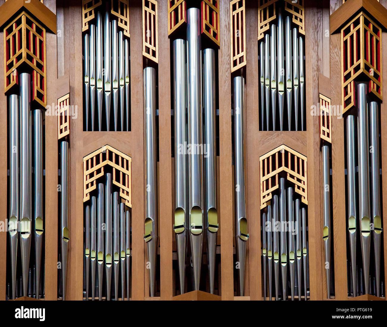 Organ pipes of the great organ in the Cathedral of Brussels, Belgium - Stock Image
