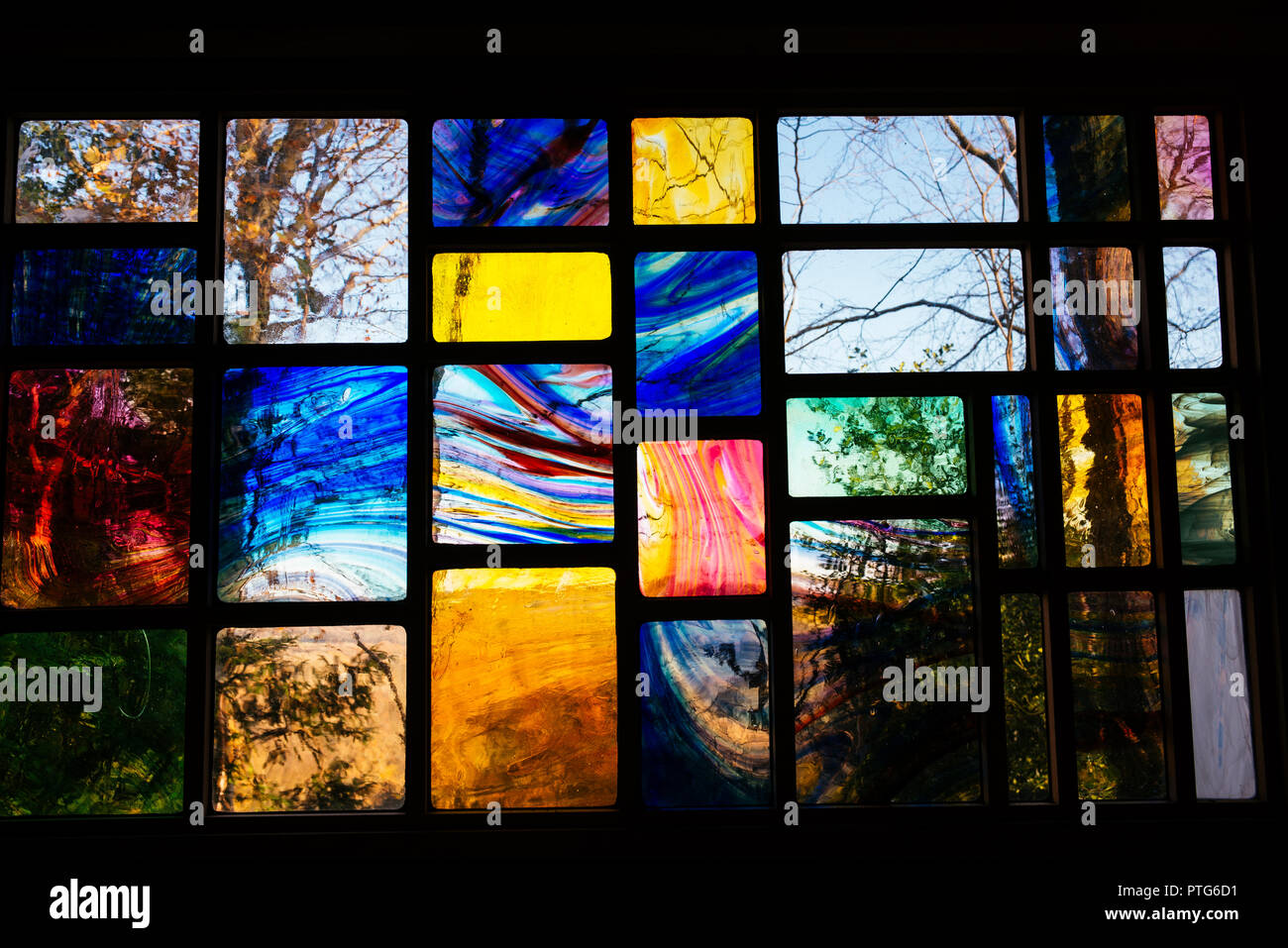 View through contemporary stained glass window Stock Photo
