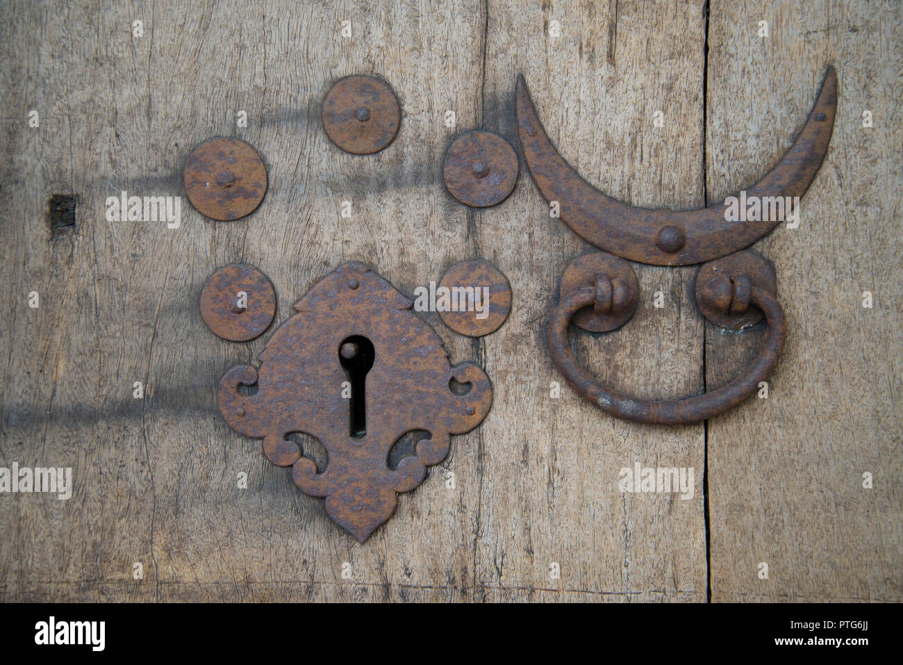 Indian antique door furniture and lock - Stock Image