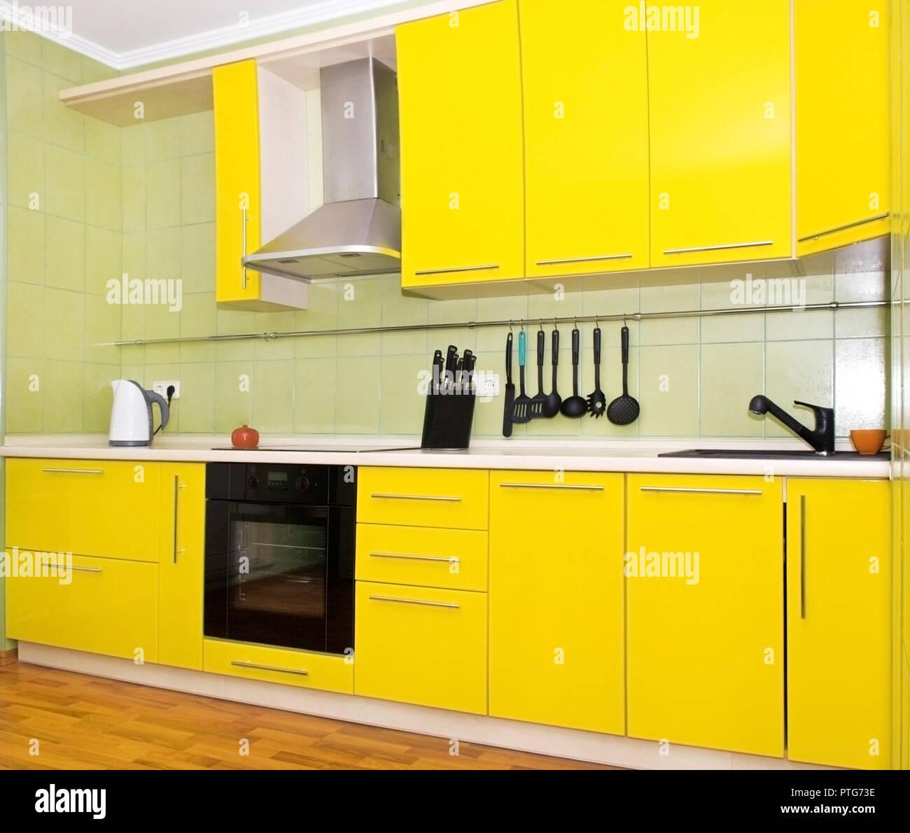 Modern Kitchen Interior Light Yellow Color Stock Photo