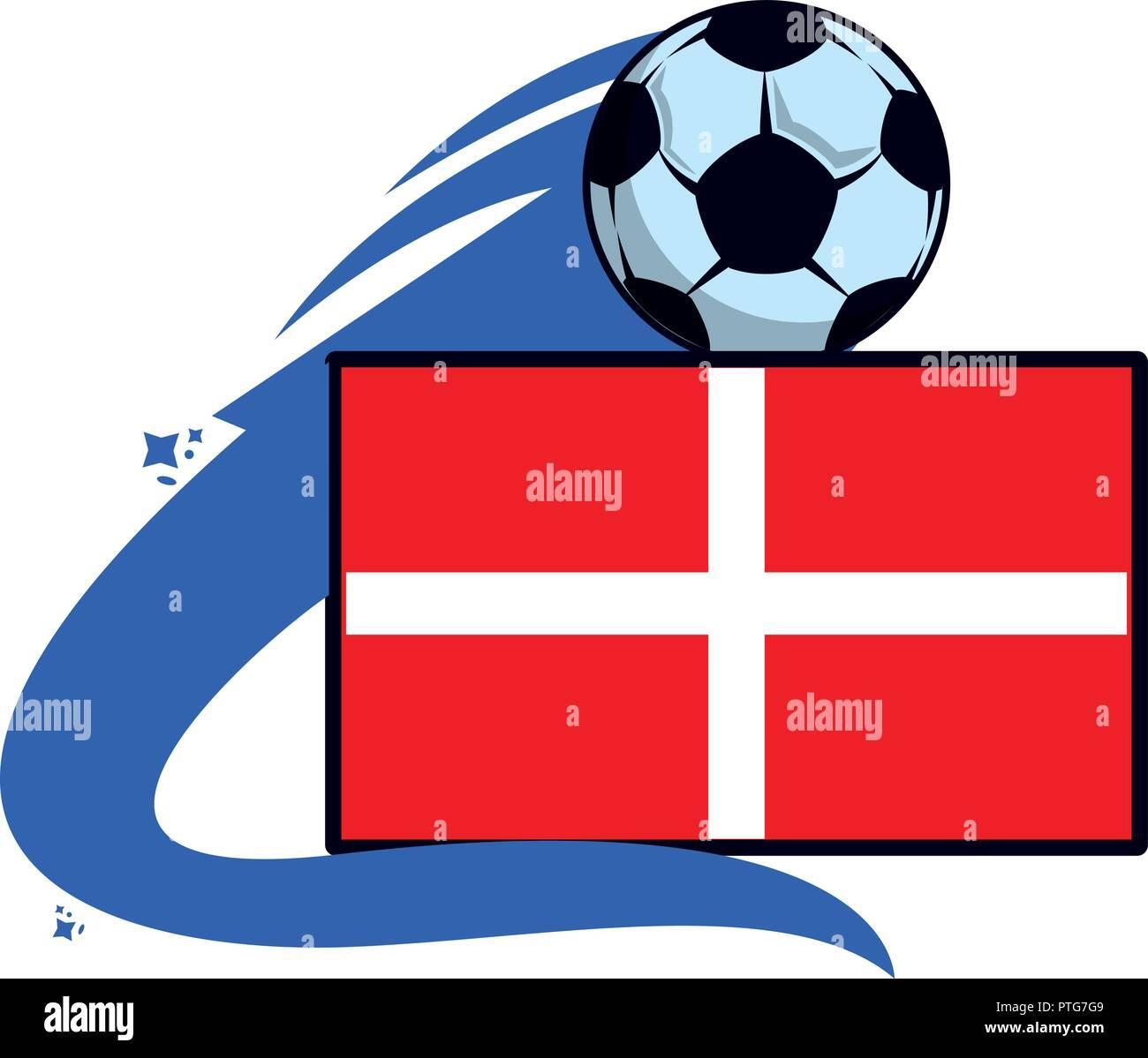 Denmark flag emblem soccer - Stock Vector